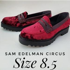 SAM EDELMAN Circus Red Dillon Velvet Loafers 8.5
